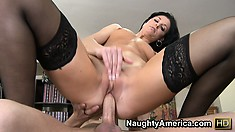 India Summer in sexy black stockings takes a break from book-keeping duties
