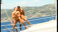 Boat traveling guys go down on each other and then fuck passionately