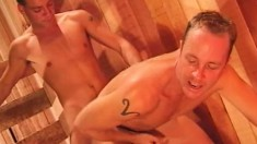 Gay cowboy gives a great blowjob and then rides his lover's big cock