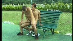 A pair of tennis playing guys love to fuck after they finish a game